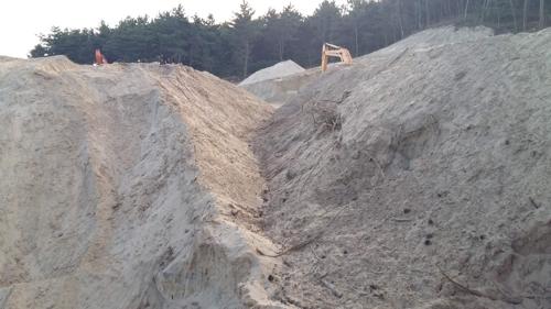 신두리 공사현장에 쌓아놓은 모래