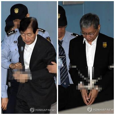 항소심 재판에 출석한 최지성 전 미래전략실장과 장충기 전 차장