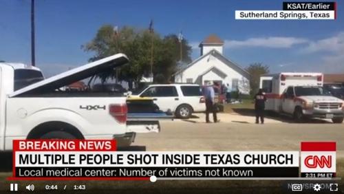 텍사스 교회 총기 난사 사건 전하는 CNN 화면