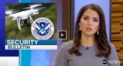 드론공격에 대한 테러경보 발령 소식 전하는 뉴스