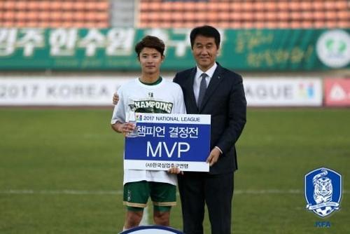 챔프전 MVP로 선정된 경주한수원의 고병욱(왼쪽)