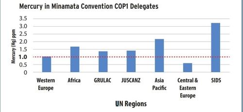 미나마타협약 첫 총회 참가 각국 대표단의 모발 속 수은농도 지역별 평균치.