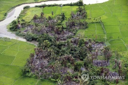 잿더미가 된 로힝야족 마을[epa=연합뉴스 자료사진]