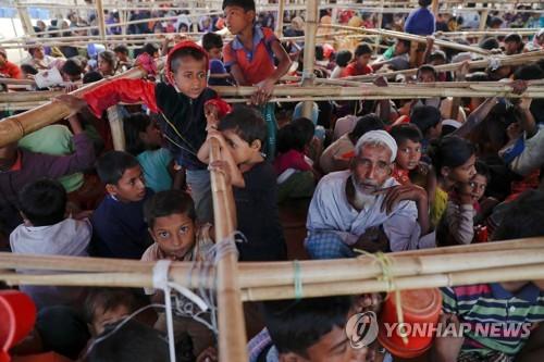 방글라데시 난민촌의 로힝야족 아이들[로이터=연합뉴스]