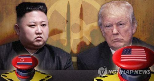핵단추 경쟁을 벌인 김정은(왼쪽)과 트럼프. 사진 합성. 사진 출처: EPA