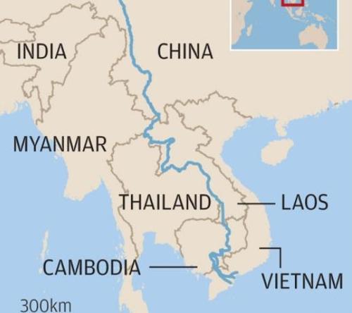메콩강 주변 지역 지도