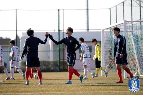광운대와 연습경기에 나선 U-23 축구대표팀 선수들