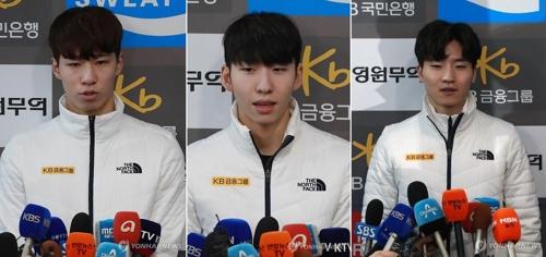 쇼트트랙 개인종목 출전하는 황대헌(왼쪽부터), 임효준, 서이라