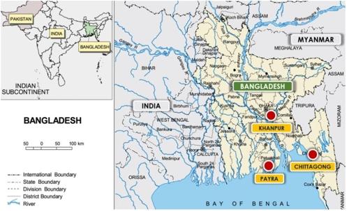 방글라데시 치타공항(Chittagong), 파이라항(Payra), 칸푸르항(Khanpur) 위치도
