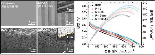 막-표면의 전자현미경 사진과 출력 성능