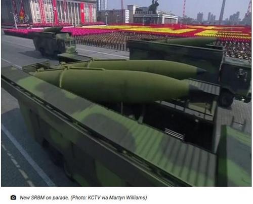북한의열병식에 등장한 신형 단거리탄도미사일(SRBM). 38노스 제공