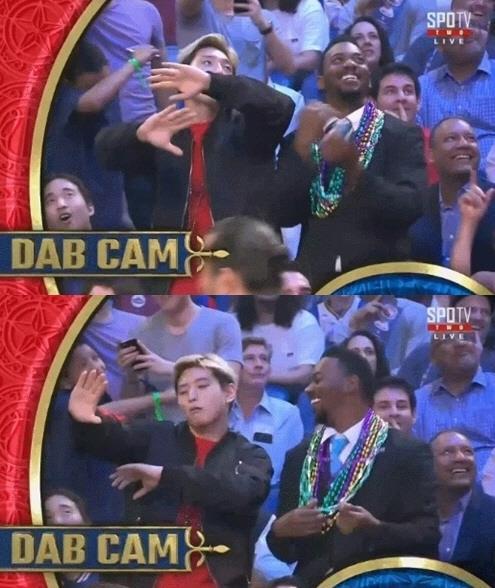 작년 'NBA 올스타전' 생중계 카메라에 포착된 정진운