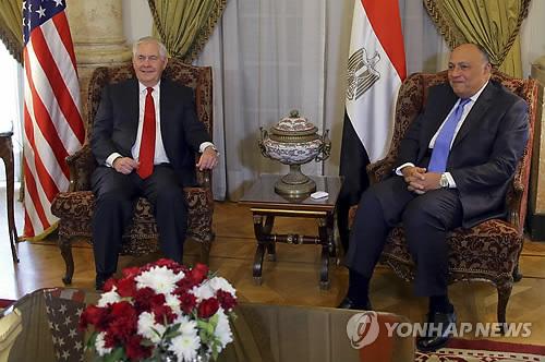 이집트 방문한 틸러슨 美국무