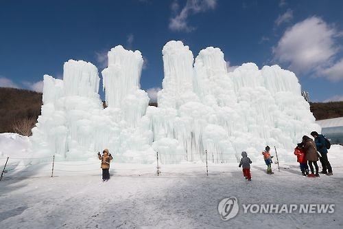칠갑산 얼음분수 축제 [연합뉴스 자료사진]