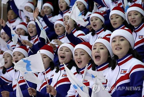 응원 중인 북한 응원단