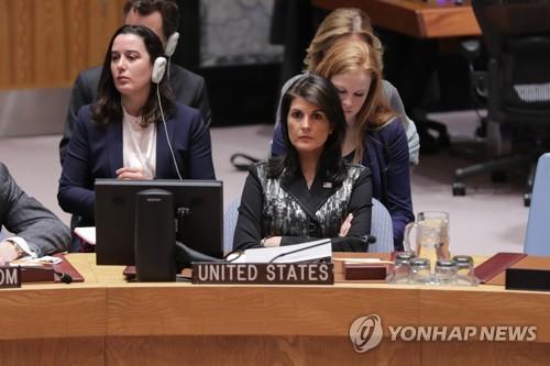 유엔 안보리 회의에 참석한 니키 헤일리 미국 대사[dpa=연합뉴스]