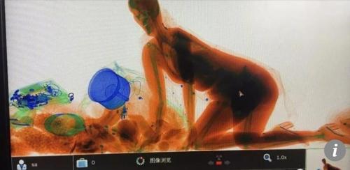 명품 핸드백을 놓기 싫어 X레이 검색대로 들어간 중국 여성이 찍힌 X레이 사진.