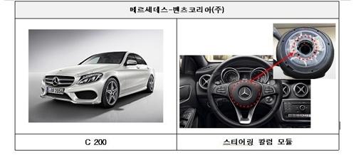 제작결함으로 리콜되는 벤츠 C200 [국토교통부 제공=연합뉴스]