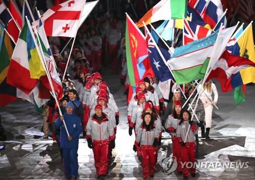 [올림픽] 대회 참가국기 당당히 입장 [연합뉴스 자료사진]