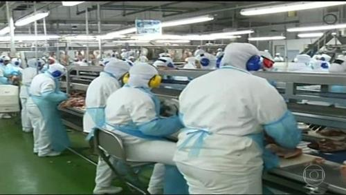 브라질 대형 육류 수출업체 BRF의 작업장 [브라질 뉴스포털 G1]