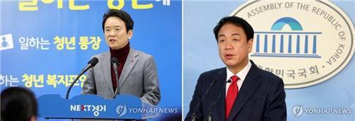 남경필(왼쪽) 경지지사와 박종희(오른쪽) 전 의원