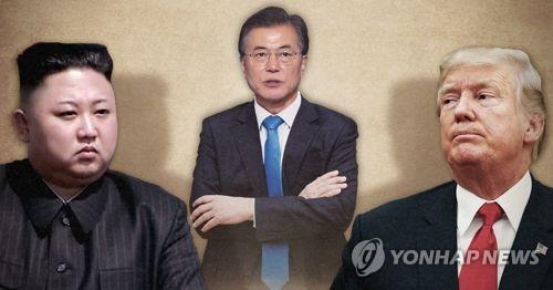 왼쪽부터 김정은 위원장, 문재인 대통령, 도널드 트럼프 대통령. 사진합성.