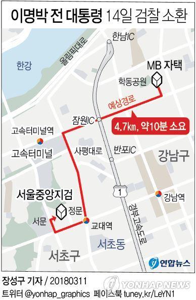 [그래픽] MB소환 D-3,자택서 중앙지검까지 예상 경로