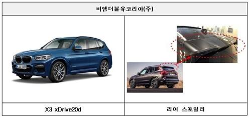 스포일러 고정 볼트 결함으로 리콜되는 BMW X3 [국토교통부 제공=연합뉴스]