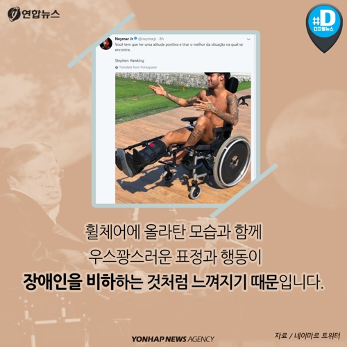 휠체어에 올라탄 모습과 함께 우스꽝스러운 표정과 행동이 장애인을 비하하는 것처럼 느껴지기 때문.