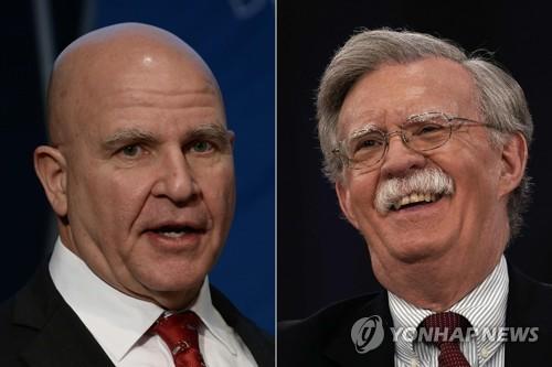 경질된 허버트 맥매스터 백악관 NSC 보좌관과 후임자인 존 볼턴 전 유엔주재 대사
