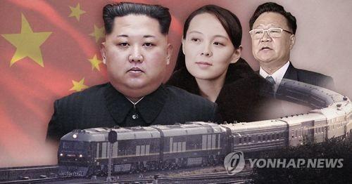 북한 최고위급의 특별열차 방중(PG)