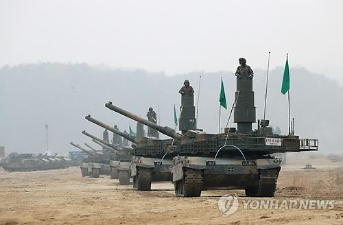 도하작전 이동하는 K-2 흑표전차[연합뉴스 자료사진]