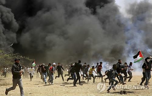 팔레스타인 가자지구의 반이스라엘시위[AP=연합뉴스자료사진]