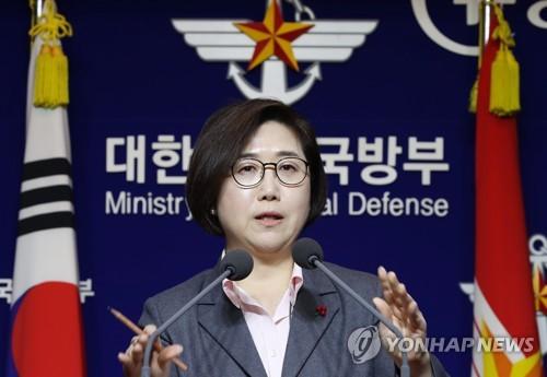브리핑하는 최현수 국방부 대변인