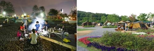 야인시대 캠핑장(사진 왼쪽)과 여월농업공원 캠핑장 [부천시 제공=연합뉴스]