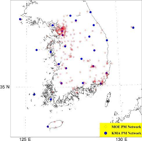 서해상 입체관측에 활용할 지상 미세먼지 관측망