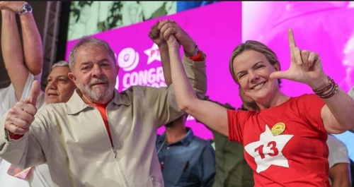 룰라 전 대통령(왼쪽)과 글레이지 호프만 노동자당 대표 [노동자당 웹사이트]