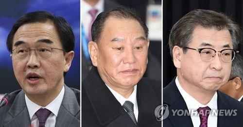 왼쪽부터 조명균 통일장관, 김영철 북한 통일전선부장, 서훈 국가정보원장