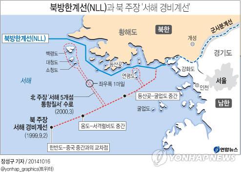 <그래픽> 서해 NLL과 북 주장 '서해 경비계선'