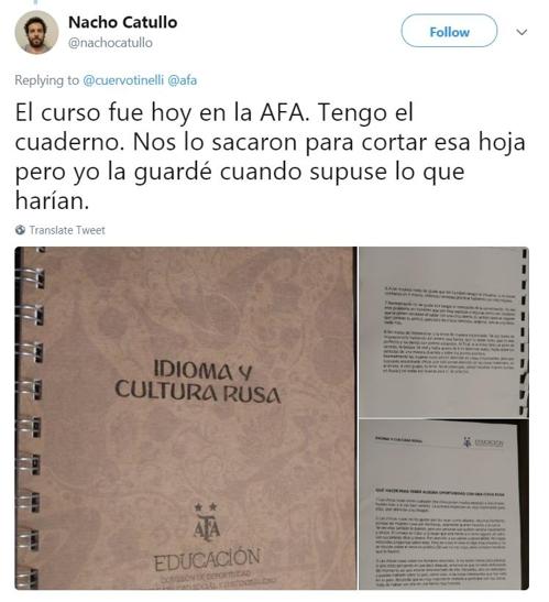 아르헨티나 기자가 트위터에 올린 아르헨티나축구협회의 러시아 문화 매뉴얼