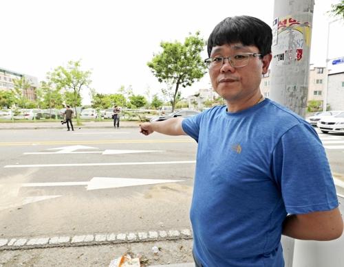 사고 당시 상황을 설명하는 김재형씨.