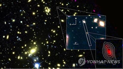 132억광년 떨어진 은하  'MACS1149-JD1' 이미지