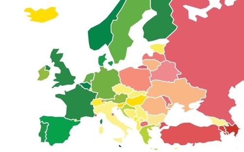 유럽 49개국 성소수자 정책 평가도. 녹색이 상위권, 적색이 하위권.