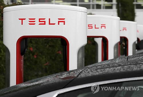미 캘리포니아주 프리몬트의 테슬라 공장내 전기차 충전소