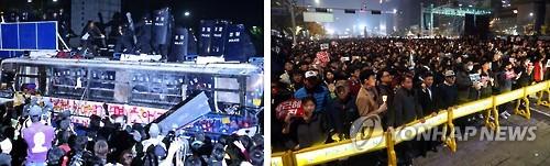 폭력시위와 평화시위 [연합뉴스 자료사진]