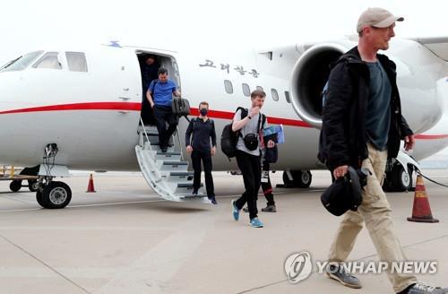 베이징 도착한 기자단