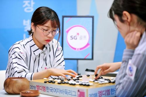 김다영 3단과 주장 대결 벌이는 최정 9단(왼쪽) [한국기원 제공=연합뉴스]