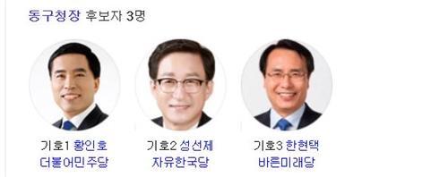 [격전지를 가다] 대전 동구청장…보수층 갈리며 3자 대결구도 형성