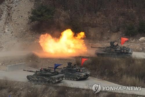 훈련 중인 주한미군 전차[연합뉴스 자료사진]