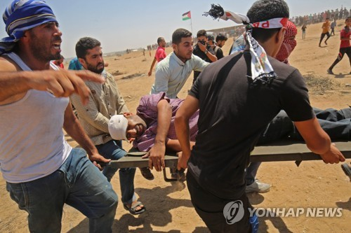 팔레스타인 가자지구 시위대 380여명 부상